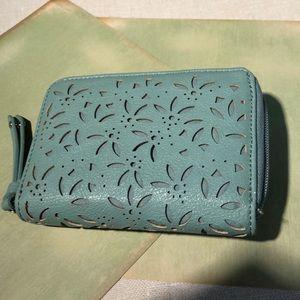 vegan leather aqua wallet